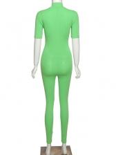 Pure Color Front Zipper Bodycon Jumpsuit