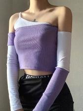 Off Shoulder Contrast Color Cropped T Shirt