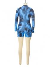 Mixed Color Tie Dye Long Sleeve Short Romper