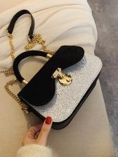 Contrast Color Glitter Sequins Shoulder Bags With Handle