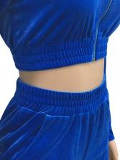 Solid Long Sleeve Zipper Up Velvet Tracksuit