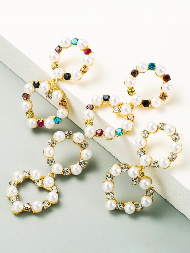 Exaggerated Rhinestone Mix Faux Pearl Earrings Women