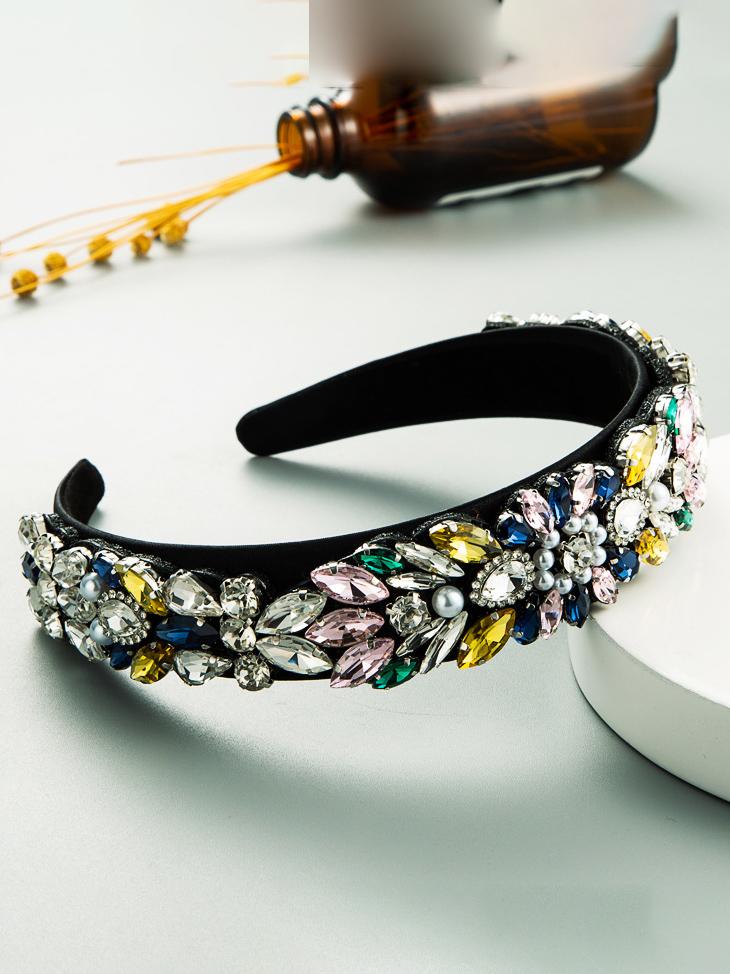 Colored Rhinestone Faux-Pearl Temperament Hair Hoop Fashion