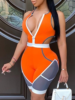 Contrast Color Front Zip Bodycon Romper