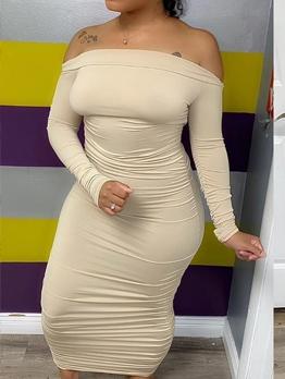 Solid Off Shoulder Bodycon Maxi Dress Hot