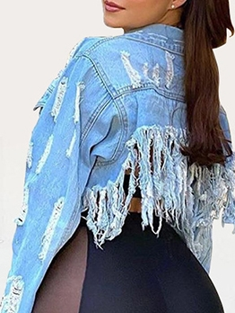 Long Sleeve Tassel Ripped Denim Short Coat Hot