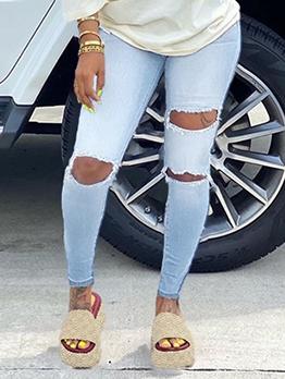 High Stretch Big Hole Skinny Jeans Women