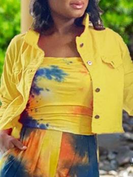 Hot Sale Pure Casual Denim Short Coat Women