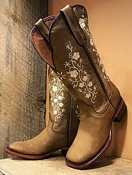 Embroider Square Toe Cowboy Boots