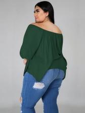Plus Size Irregular Hem Off Shoulder Plain T Shirt