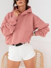 Pink Elastic Waist Hoodies For Women