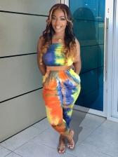 Colorful Tie Dye Strapless 2 Piece Pants Set