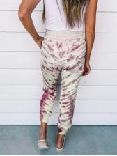 Tie Dye Drawstring Waist Casual Long Pants