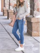 Side Lace Up Plain Gray Crewneck Sweatshirt