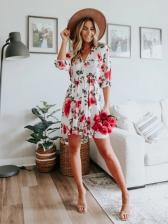 Flower Printed Half Sleeve V Neck Summer Dress