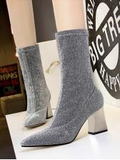 Winter Plush-Lined Chunky Heel Womens Boots