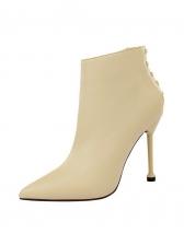 Side Zipper Stiletto Heel Solid Pu Ankle Boots