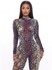 Snake Print Long Sleeve Skinny Jumpsuits Women