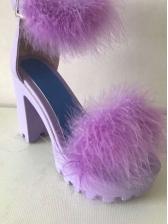 Fashion Thick Heel Fur Round Toe Sandals