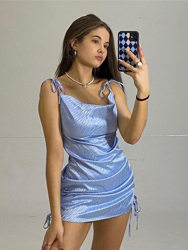 Fresh Solid Drawstring Pleated Camisole Dress Summer