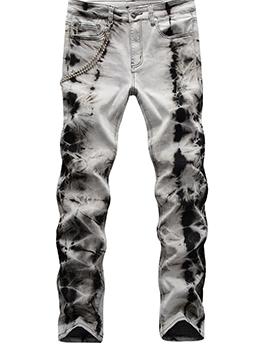 Retro Style Tie Dye Skinny Men Jeans Street