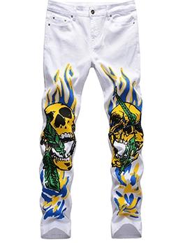 Street Trend Skull Graffiti Men Jeans Fashion