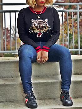 Tiger Print Casual Sweatshirt For Women