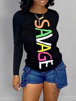 Simple Style Letter Print Long Sleeve Black T Shirt