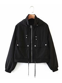 Autumn Plain Black Zipper Up Hooded Coat