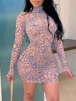Turtle Neck Printed Long Sleeve Bodycon Dress