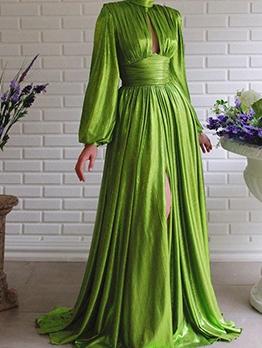 Trendy Solid Floor Length Long Sleeve Maxi Dress