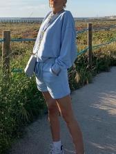 Plain Blue Long Sleeve Autumn 2 Piece Shorts Set