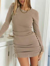 Pure Color Side Drawstring Long Sleeve Dress
