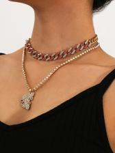 Chic Rhinestone Decor Pendant Layered Necklace