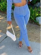 Euro Style Women Bottoms Elastic Jeans