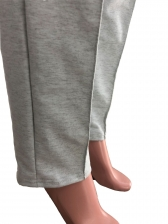 Solid Cold Shoulder Hoodie And Casual Pants Autumn