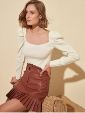 Autumn Puff Sleeve Solid Skinny Pullover Simple