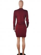 Fashion Zipper Patchwork Long Sleeve Dress