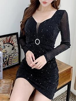 V Neck Glitter Long Sleeve Short Dress