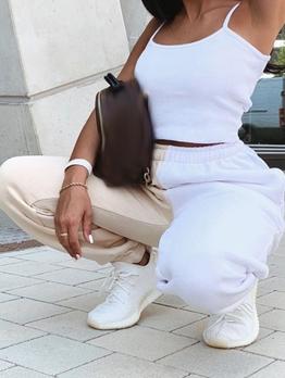 Contrast Color Elastic Waist Sweatpants Women