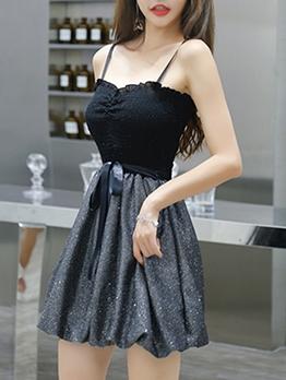 Sweet Contrast Color Patchwork Short Sleeveless Dress