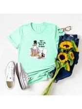 Crew Neck Printed Cheap T Shirt For Women