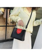 Metal Handle Color Patchwork Women Shoulder Bags
