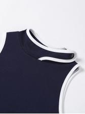 Contrast Color Casual Detachable Sleeve T-Shirt
