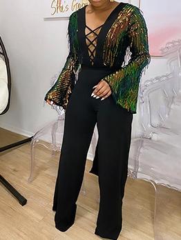Black Sexy Tassel Flare Sleeve Jumpsuit