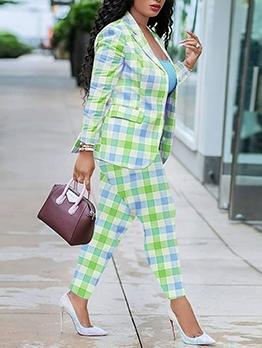 Lapel Collar Plaid Two Piece Women Suit For Work