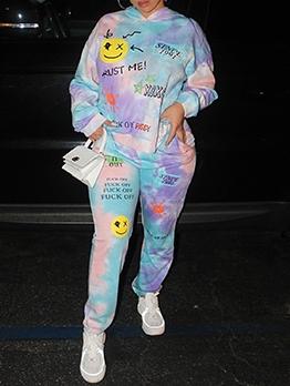 Fashion Tie Dye Leisure Two Pieces Pants Set