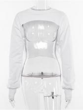 Crew Neck Long Sleeve Crop Sweatshirt For Women