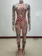 Animal Striped Print Mock Neck Skinny Women Jumpsuit
