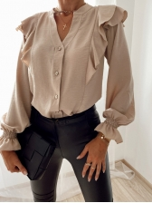 Button Up Solid Color Autumn Ruffled Blouse